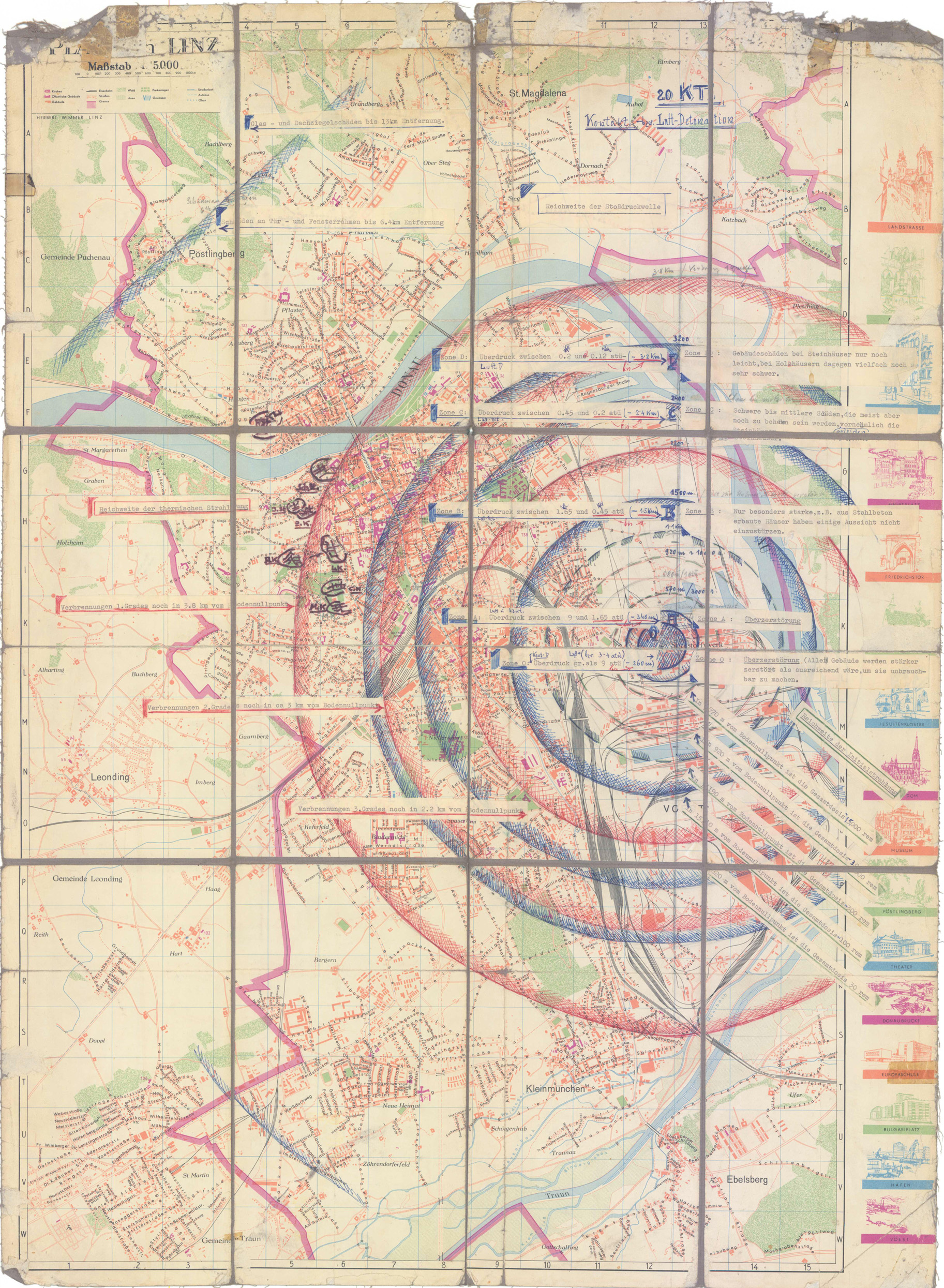 Linz (Radiusplan der Wirkung einer Nuklearbombe) liuou